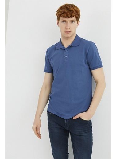Z Giyim Pamuklu Düğmeli Polo Yaka T-shirt İndigo